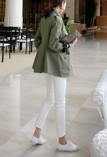 Flared khaki jacket