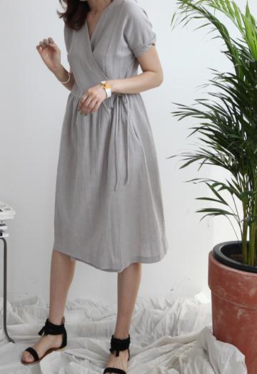 Linen wrap dress (2color)