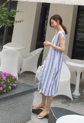 V stripe dress (2color)