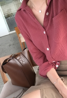 Twofold gauze shirt (red brown)