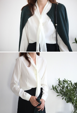 scarf tie collar blouse (3color)