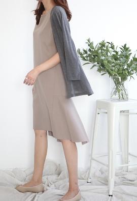 Unbalanced flare dress (3color)