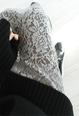Sheer lace skirt (2color)