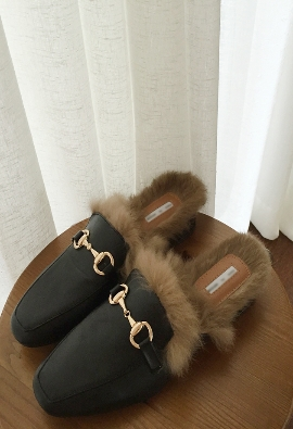 Rabbit fur slippers (4color)
