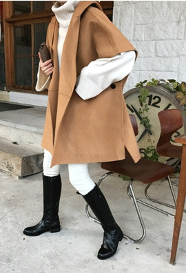 [HandMade] Hooded Cape Coat (3color)