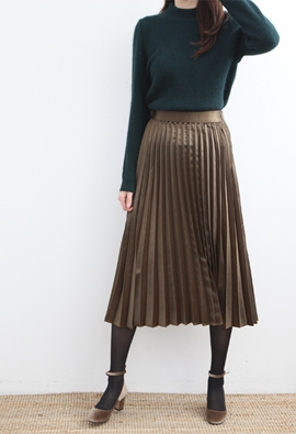 [Back Band] glossy pleated skirt (4color)