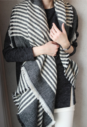 Striped scarf shawl (5color)