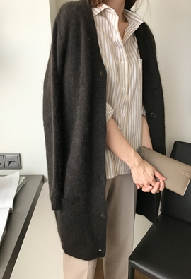 Angora wool cardigan (brown)
