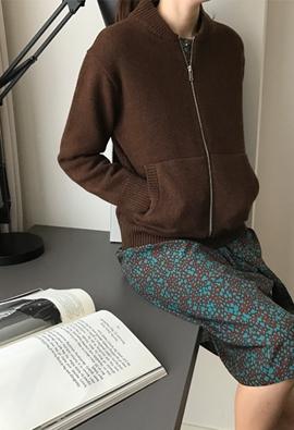 Knit zipper cardigan (3color)