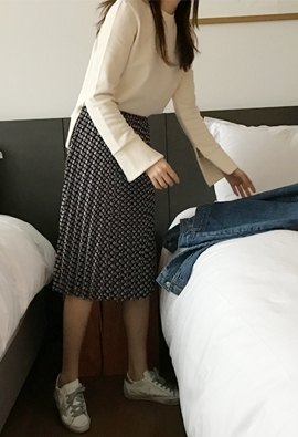 [Band Type] overlap pattern skirt (2color)