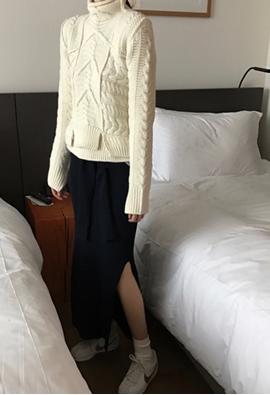 Tie slit skirts (2color)