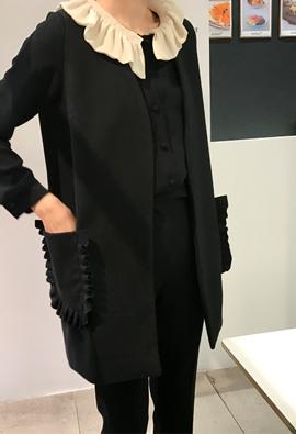 Frilled pocket vest (3color)
