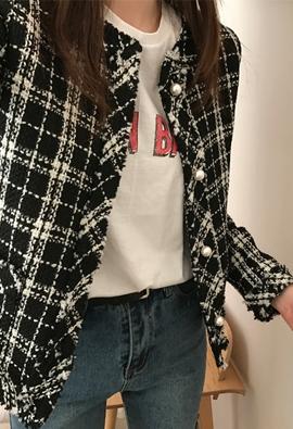 Pearl tweed jacket (2color)