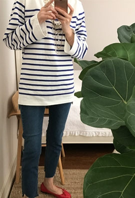 Cooling striped tee (3color)
