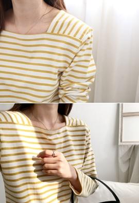 Square stripe tee (4color)
