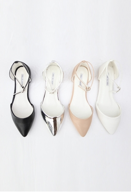 Pointed toe strap flat (4color)