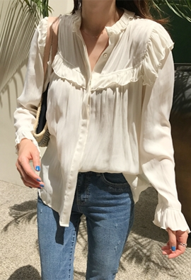 Frill shirring blouse (2color)