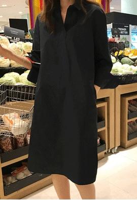 Collar slit dress (2color)
