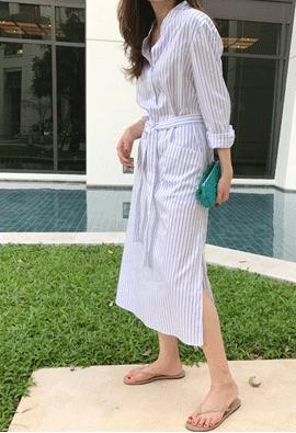 Striped long dress (2color)