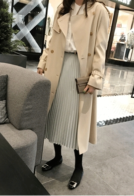 Detachable collar trench coat (2color)