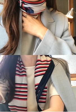 Stripe silk scarf