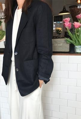 Patch linen jacket (3color)