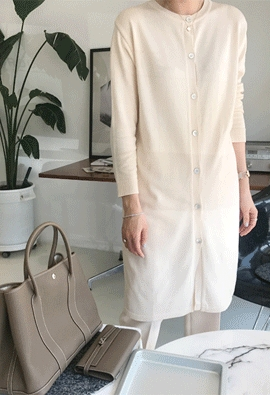 Round long cardigan (4color)