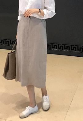 [Back band] Linen midi skirts (3color)