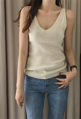 Plunging knit top (3color)
