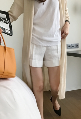Linen turn-up shorts (3color)