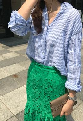 Linen striped shirt (2color)