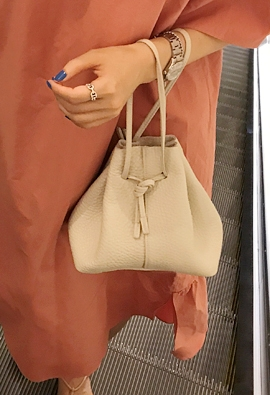 Leather bucket bag (3color)
