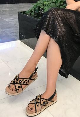 Cross Jewel Sandals (2color)
