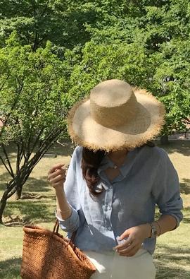 Lace raffia hat (black)