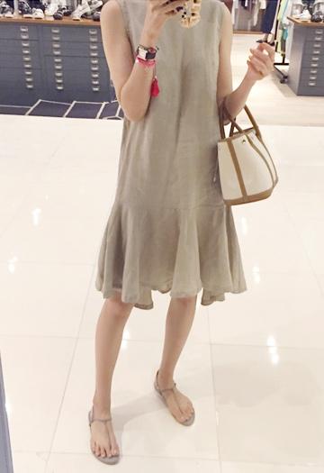 Linen flared dress (4color)