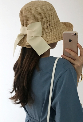 Raffia ribbon hat (3color)