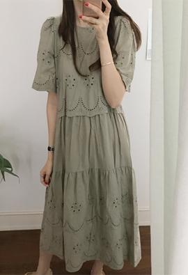 Shirring lace dress (3color)