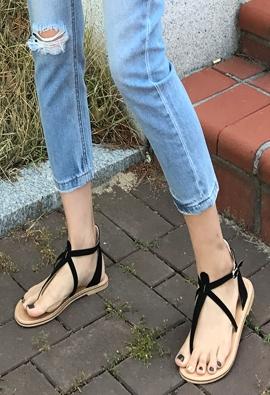 T-strap sandals (4color)