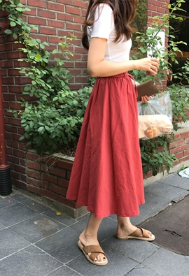 Shirring flared skirt (2color)