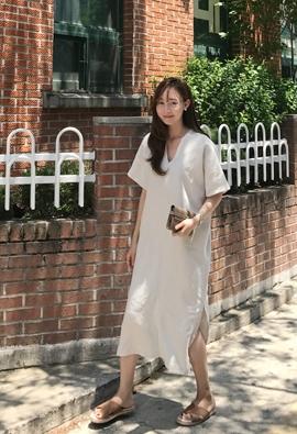 V linen dress (2color)