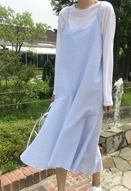 Gingham slip dress (2color)