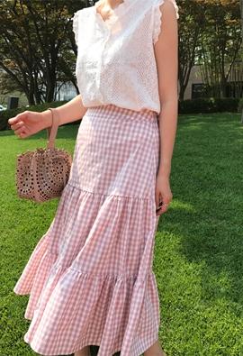 [Back band] Check shearing skirt (3color)