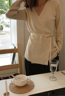 Knit wrap cardigan (2color)