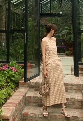 Gingham volume dress (3color)