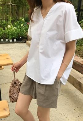 V neck cotton blouse (3color)
