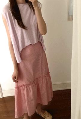 [Back band] Stripe shearing skirt (2color)