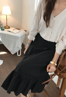 [Back band] Rustle shirring skirt (3color)