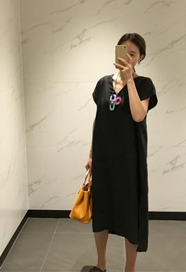 Linen boxy dress (3color)