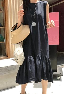Unbalance shirring dress (2color)