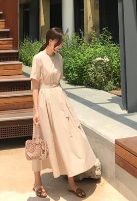 Peach long dress (3color)